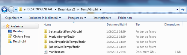 Captură de ecran din Windows Explorer care afișează un fișier .wsp dezarhivat.