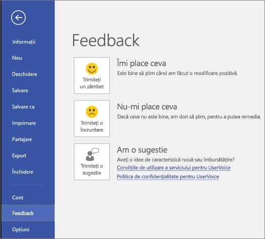Faceți clic pe Fișier > Feedback pentru a oferi comentarii sau sugestii despre Microsoft Visio