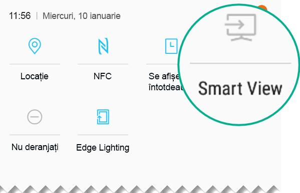 În Setări rapide, găsiți pictograma Smart View și atingeți-o pentru a deschide aplicația