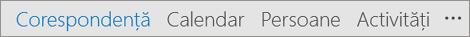 Acces rapid Outlook din bara care afișează, de nume, E-mail, Calendar, persoane și activități butoane și mai multe (trei puncte sau punctele de suspensie) Opțiuni