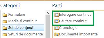 Părțile web Interogare de conținut și Căutare de conținut în SharePoint
