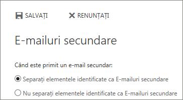 Opțiuni E-mailuri secundare