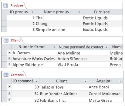 Fragmente de produse, clienți și comenzi tabele
