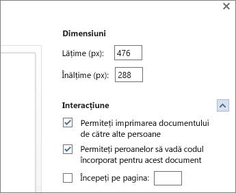 Opțiuni pentru încorporarea unui document Word
