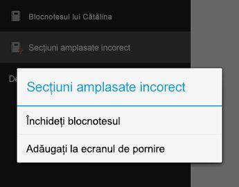 Comanda de închidere blocnotes în OneNote pentru Android