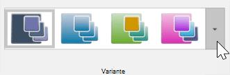 Captură de ecran cu tema proiectare > > de instrumente pentru variante
