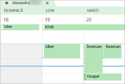 Cum arată calendarul cu persoana cu care l-ați partajat.