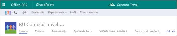 Navigarea în site partajat SharePoint hub