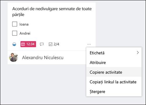 Captură de ecran: afișând meniul mai multe deschiderea dintr-o activitate pe forumul planificator.