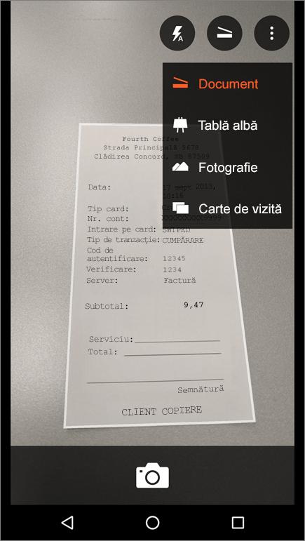 Captură de ecran cu modul de a captura o imagine în Office Lens pentru Android.