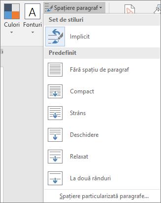 Opțiunile Spațiere paragraf sunt afișate pe fila Proiectare.