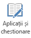 Butonul aplicațiile și chestionare pe fila înregistrare în PowerPoint 2016