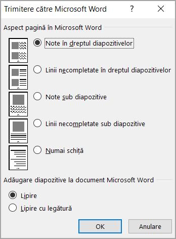 Caseta Trimitere către Microsoft Word