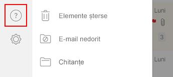 Imagine cu panoul de navigare din stânga din Outlook pentru iOS.