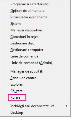 Comanda Rulare după ce faceți clic dreapta pe Start în Windows 8 și Windows 10