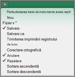Office2016 pentru Mac Particularizare meniu bară de instrumente acces rapid