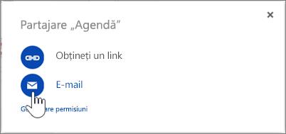 Captură de ecran selectarea opțiunii E-mail în caseta de dialog Partajare din OneDrive