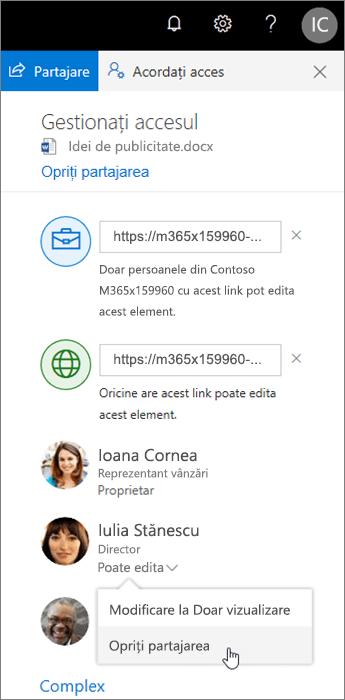 Modificarea sau oprirea partajării în OneDrive