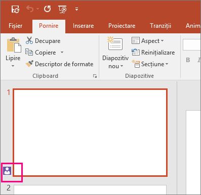 Afișează pictograma care indică faptul că o altă persoană colaborează la un diapozitiv în PowerPoint 2016