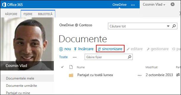 Biblioteca OneDrive pentru business din Office 365