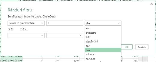 Power Query - Definirea opțiunilor de filtrare cu ore, minute și secunde