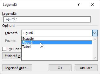 Utilizați caseta de dialog Legendă pentru a seta opțiunile pentru legendele de figuri, tabele sau ecuații.