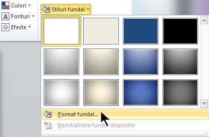 În extremitatea dreaptă a filei Proiectare, selectați Stiluri fundal, apoi alegeți Formatare fundal
