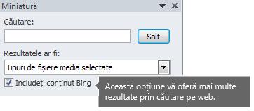Activarea opțiunii Includeți conținut Bing vă oferă mai multe rezultate de căutare din care să alegeți.