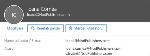 Acest utilizator are o adresă principală și două aliasuri.