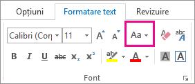 Butonul Modificare majuscule/minuscule din fila Formatare text