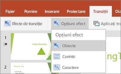Afișează tranziții > meniu Opțiuni efect în PowerPoint pentru Android.
