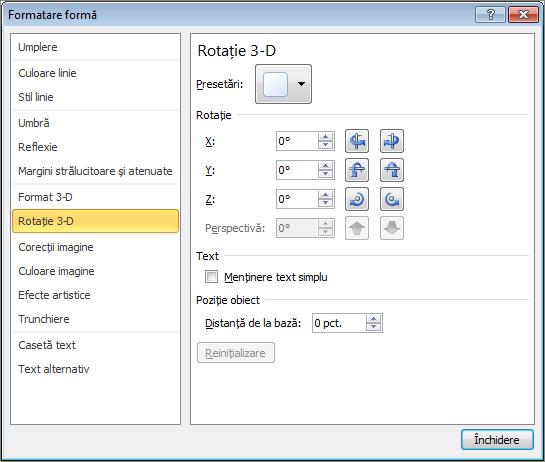 Rotire 3D din caseta de dialog Formatare formă