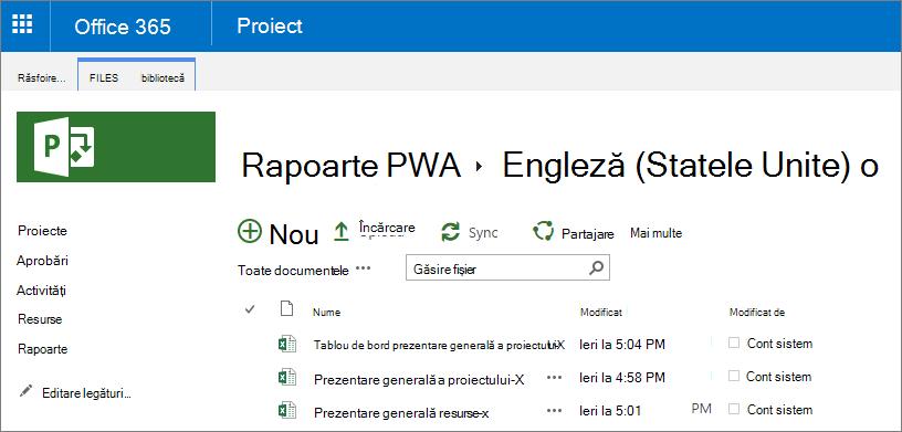 În pagina rapoarte PWA, alegeți limba.