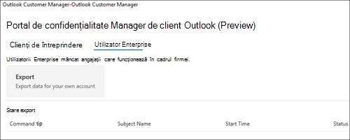 Captură de ecran: Export Outlook client Manager angajat date