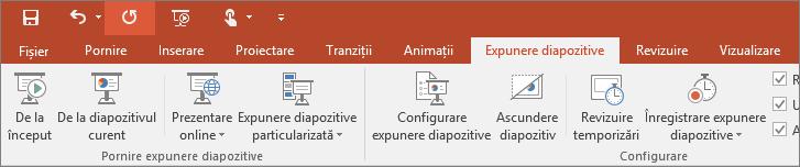 Afișează fila Expunere de diapozitive pe panglica din PowerPoint