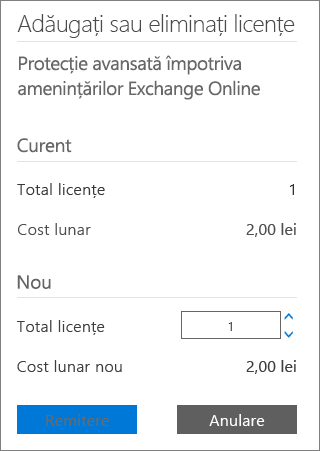 Caseta Total licențe și butonul Remitere din caseta de dialog Adăugați sau eliminați licențe.