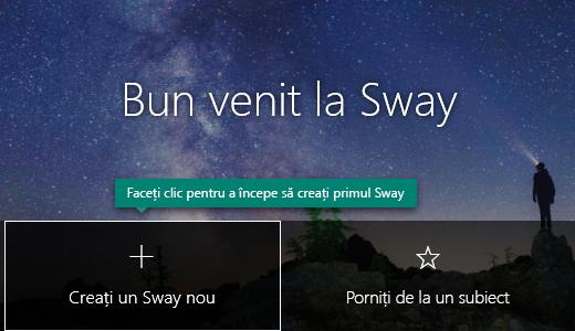Butonul Creați un Sway nou de pe pagina Swayurile mele