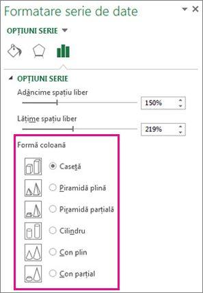 Forme 3D piramidă și con în panoul de activități Formatare serie de date