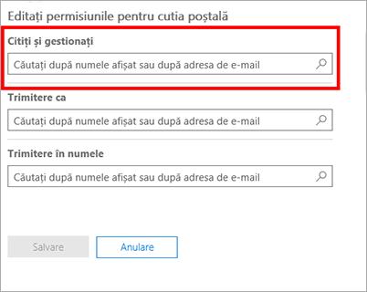 Captură de ecran: Adăugați utilizatori pentru a citi și a gestiona cutia poștală a acestui utilizator