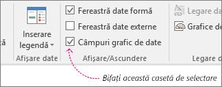 Fila Date, caseta de selectare Câmpuri grafic de date