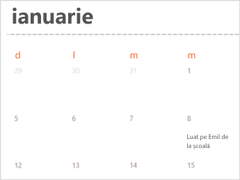 Șablon de calendar în Excel Online