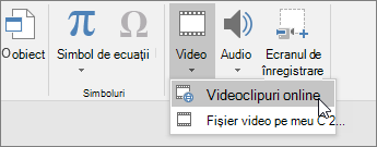Adăugarea de conținut video la diapozitive