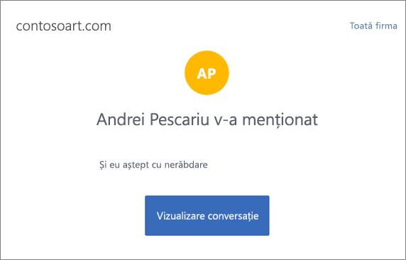 Captură de ecran afișează o notificare de e-mail Yammer, care se condensează mesajul și include un buton etichetat 'Vizualizarea conversație' care merge la conversații Yammer.