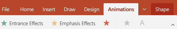 Pe fila animații din PowerPoint pe o tabletă Android