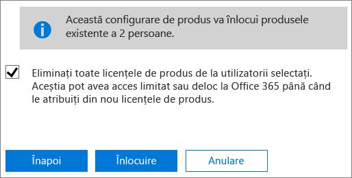 Bifați caseta de selectare pentru a elimina toate licențele din conturile utilizatorilor selectați.