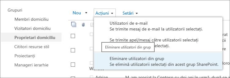 Vizualizare din bara de lansare rapidă cu grupuri și meniul acțiuni deschis cu eliminare utilizatori din grup selectat.
