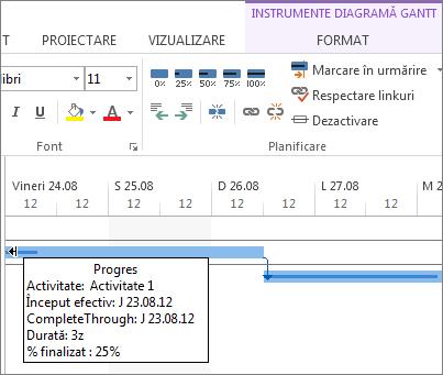 procentul de finalizare a activității vizibil în bară