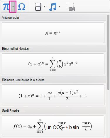 Ecuații predefinite