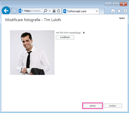 Captură de ecran a casetei de dialog Modificare imagine, cu Salvare evidențiată