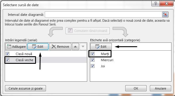 Puteți să editați numele de legendă în caseta de dialog Selectare sursă de date.